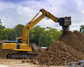 Excavating Machine screening soil Royalty Free Stock Images