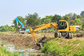 Excavator along river in huahin thailand Royalty Free Stock Images