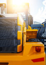 Excavator cabin and bucket. construction equipment clean new Royalty Free Stock Photo