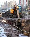 A excavator on earthworks