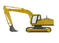 Excavator form recycled paper cut isolated on whit whtie background Stock Photos