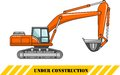 Excavator. Heavy construction machine. Vector