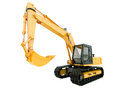 Excavator isolated construction heavy machine on white background Royalty Free Stock Images