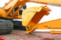 Excavator loader machine on truck Royalty Free Stock Photo