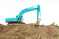 Excavator loader machine during works outdoor at construction site Stock Photo