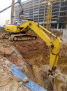 Excavator machine used to excavate soil at the construction site selangor malaysia january excavators is heavy do excavation work Royalty Free Stock Photos