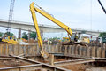 Excavator machine used to excavate soil at the construction site selangor malaysia – september excavators is heavy do excavation Stock Photography