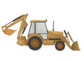 Excavator made from recycled paper cut isolated on form whtie background Royalty Free Stock Images