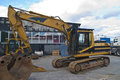 Excavator transported to storage Royalty Free Stock Images