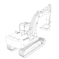 Excavator wire frame d render isolated on a white background Stock Images