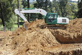 Excavator working on a construction site Royalty Free Stock Image