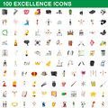 100 excellence icons set, cartoon style