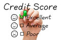 Excellent credit score hand putting check mark with green marker on evaluation form Stock Photography