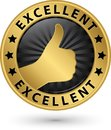 Excellent golden sign with thumb up, vector illustration Royalty Free Stock Photo