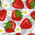 Excellent seamless pattern with strawberry Stock Photos
