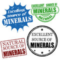 Excellent source of minerals stamps set grunge rubber vector illustration Royalty Free Stock Photos