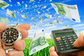 Excess profits collage with flying money watches and money in hand against the sky and grass Royalty Free Stock Photos