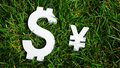 Exchange rate. The yen and the dollar sign on grass. Royalty Free Stock Photo