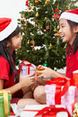 Exchanging present on Christmas Royalty Free Stock Image