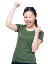Excite woman fist up isolated on white Royalty Free Stock Image