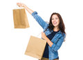 Excite woman hold shopping bag isolated on white background Royalty Free Stock Photos