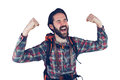 Excited adventurer with arms raised Royalty Free Stock Photo
