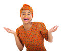 Excited african woman in traditional clothes isolated on white Royalty Free Stock Photo