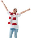 Excited asian football fan cheering on white background Royalty Free Stock Photography