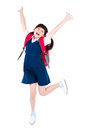 Excited asian primary student Royalty Free Stock Photo
