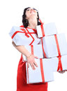 Excited attractive woman with many gift boxes and bags Royalty Free Stock Photo