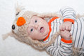 Excited Baby in Owl Hat Royalty Free Stock Photo