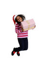 Excited black girl at christmas isolated Royalty Free Stock Photos
