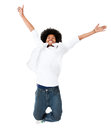 Excited black man jumping Stock Photo