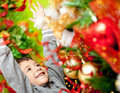 Excited boy enjoying Christmas Royalty Free Stock Images