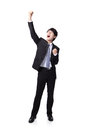 Excited business man with arms raised Royalty Free Stock Photography