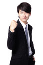Excited business man showing his fist Royalty Free Stock Image