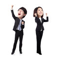 Excited business man and woman men women with arms raised in full length isolated on white background asian big head Royalty Free Stock Photography