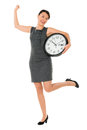 Excited business woman with a clock on time isolated over white Stock Image