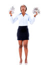Excited business woman with money isolated over a white background Stock Photos