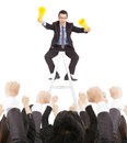 Excited businessman yelling with success business team Royalty Free Stock Photo