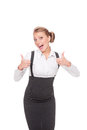 Excited businesswoman showing thumbs up Stock Photography