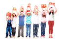 Excited children with Christmas gifts Royalty Free Stock Photos