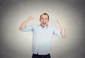 Excited, energetic, happy, screaming student, business man winning Royalty Free Stock Photo