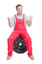 Excited and enthusiastic mechanic shouting for joy Royalty Free Stock Photo