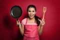 Excited female chef or house wife ready to cook Royalty Free Stock Photo