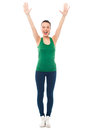 Excited fitness girl raising her hands healthy young woman in excitement Stock Image