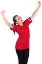 Excited football fan in red cheering on white background Stock Photos