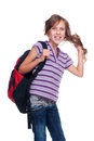 Excited girl holding rucksack Royalty Free Stock Images