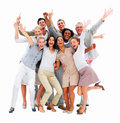 Excited group of business people-isolated Royalty Free Stock Image