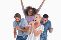 Excited group at karaoke on white background Stock Images